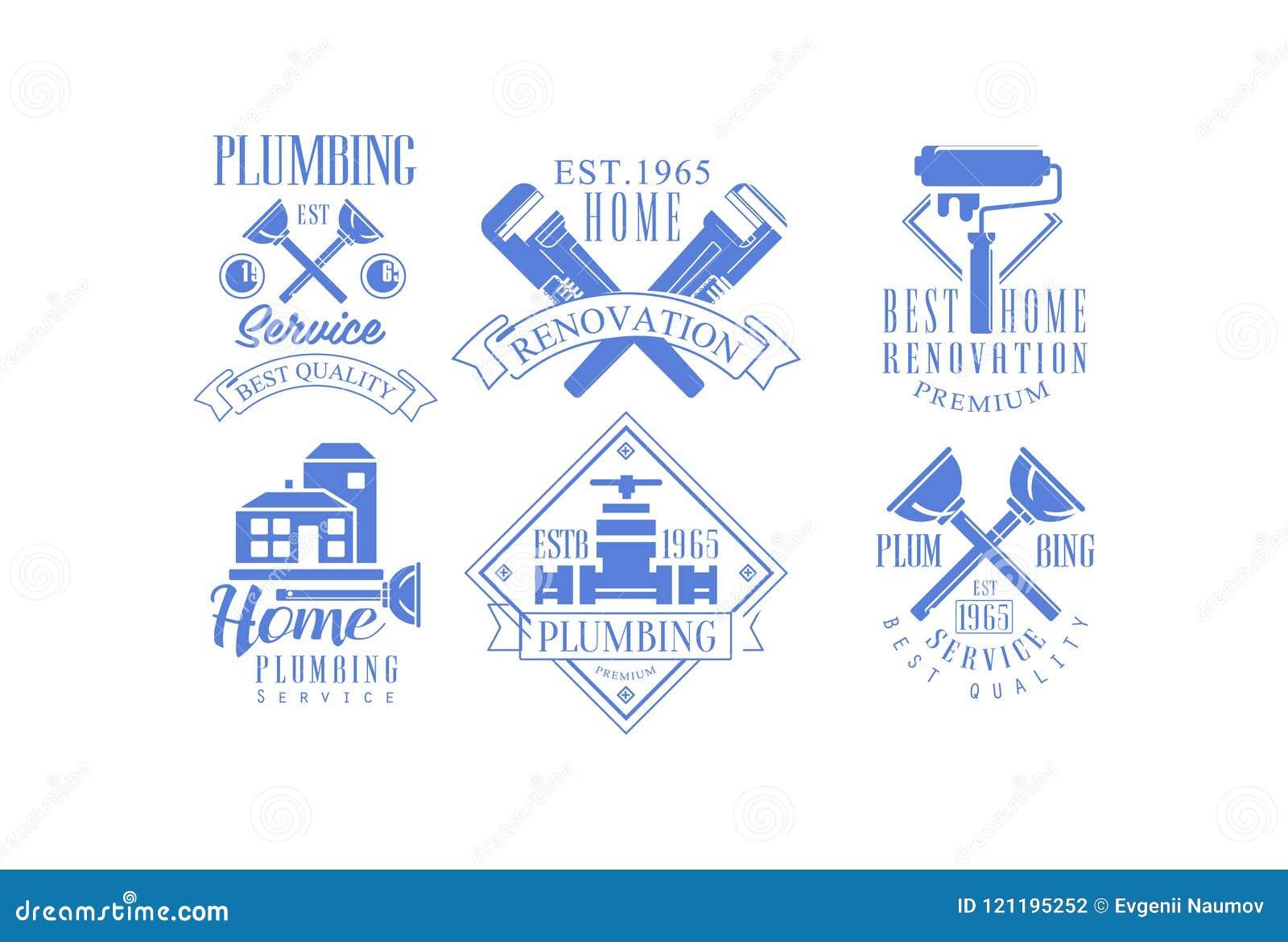 Vectorreeks van 6 zwart-wit embleemmalplaatjes voor loodgieterswerk en bouw de diensten Huisvernieuwing, huis het schilderen en