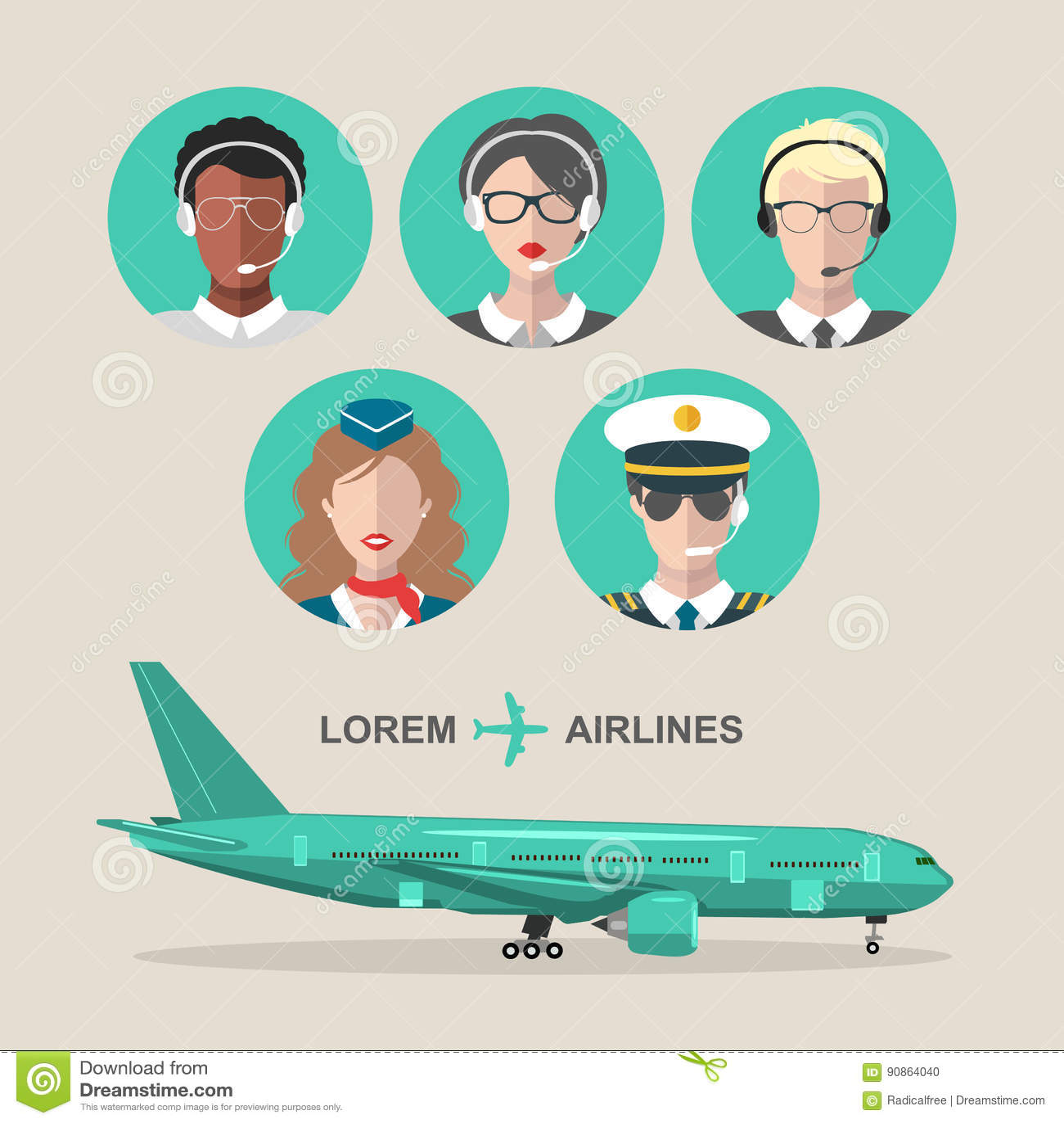 Vectorreeks vliegtuig en cabinepersoneel en van het luchthaventeam pictogrammen in vlakke stijl Luchtvaart mannelijke, vrouwelijk