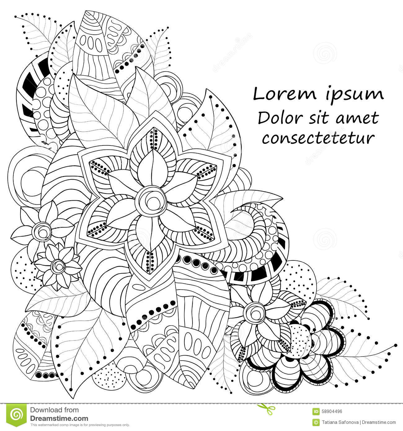 vectors abstract doodle flower and wave pattern card template stock