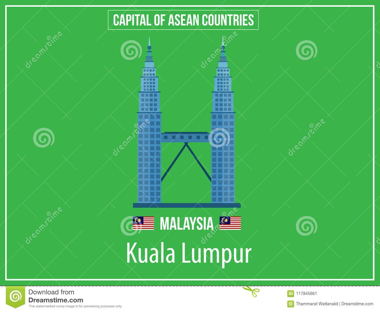 Vectors Illustration Of Capital Of Malaysia Country Stock