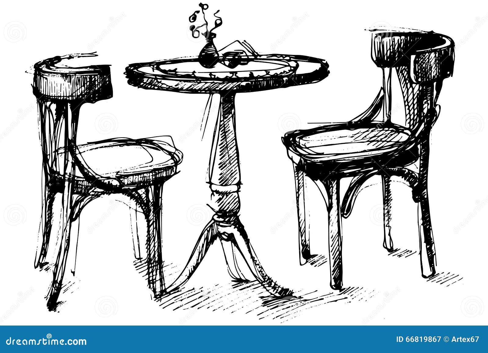 Vectorschets van een ronde houten lijst en twee stoelen in Wenen