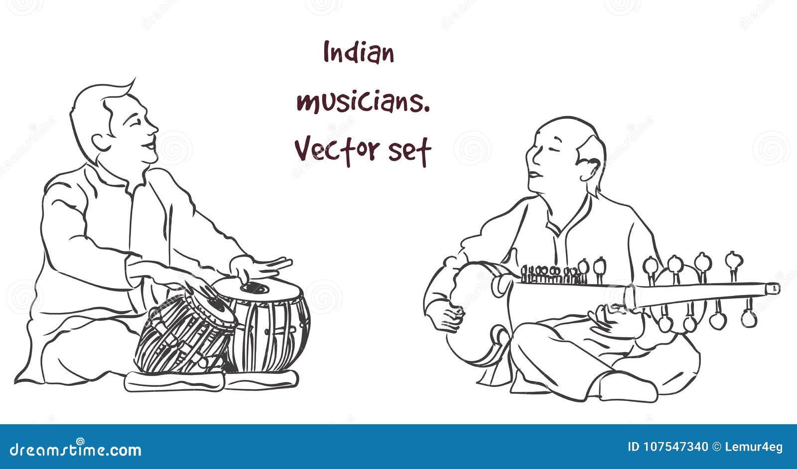 Vectorsilhouet van Indische musicus