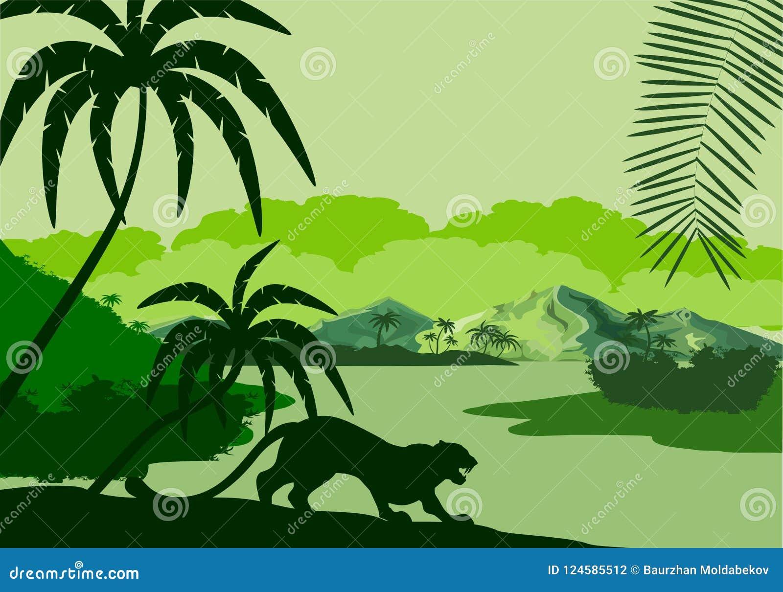 Vectorsilhouetillustratie van tropisch meer met bergen, bomen en luipaardensilhouetten in het moerasland van het wildernisregenwo