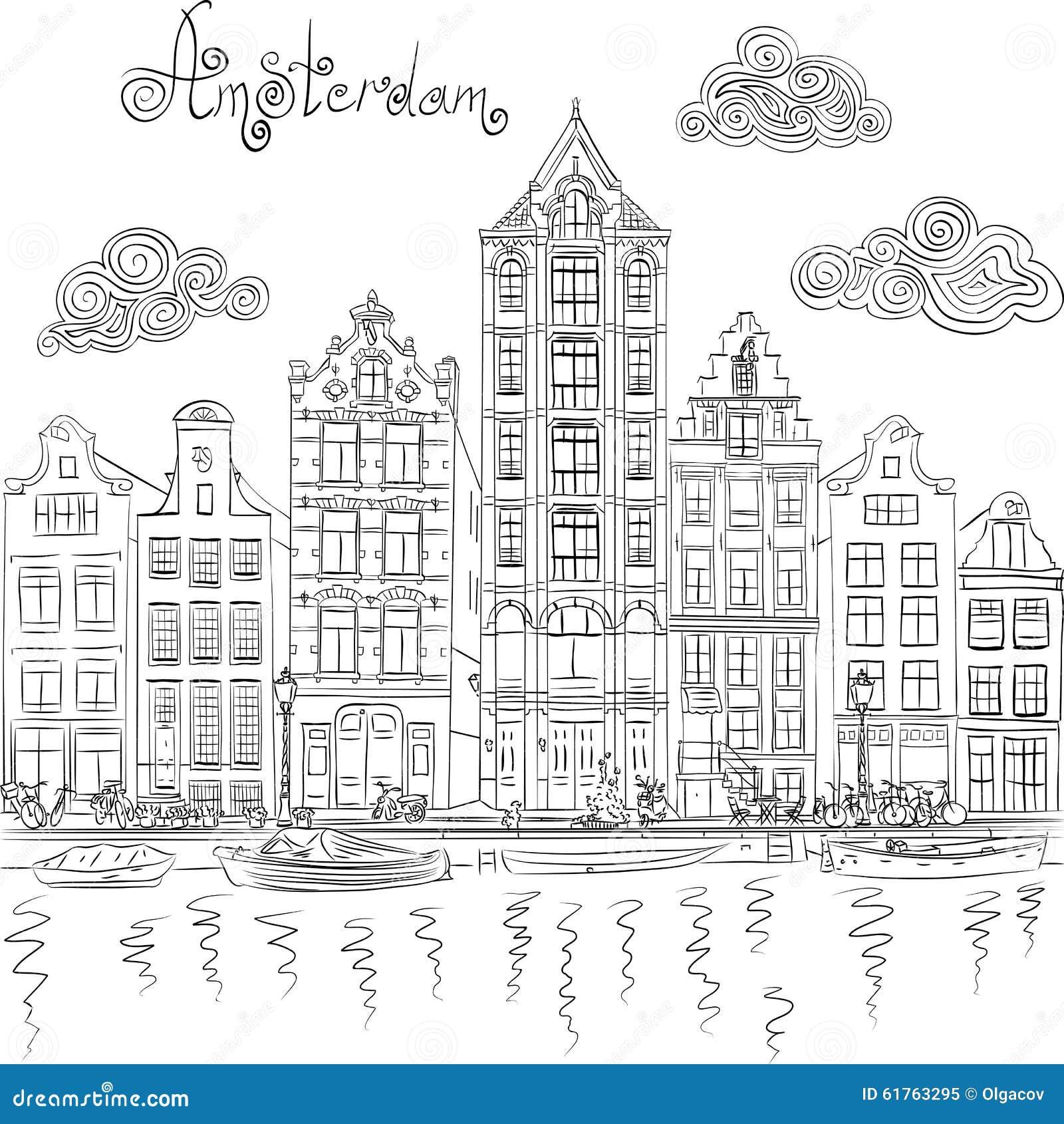 Vectorstadsmening van het kanaal van Amsterdam