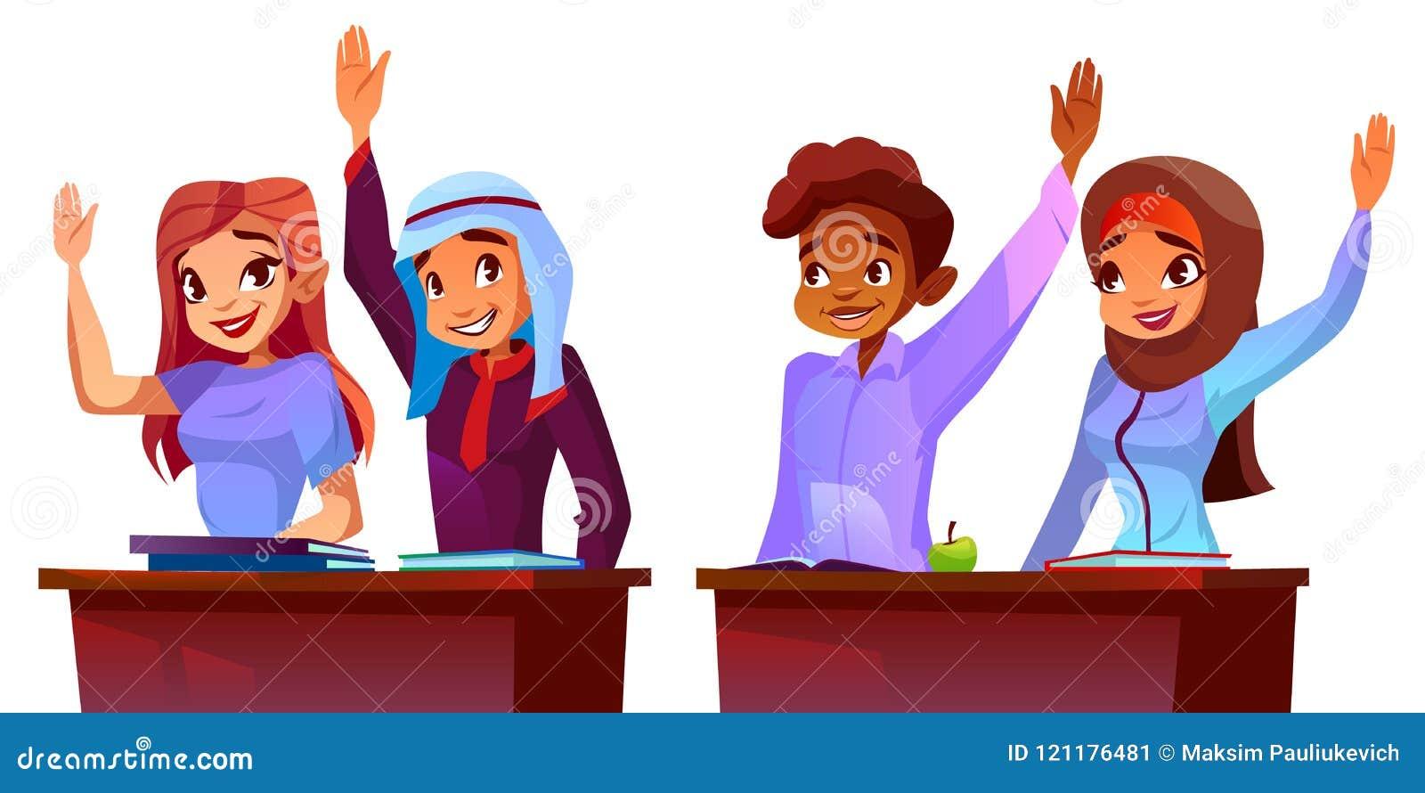 Vectorstudenten - multiculturele leerlingen Diverse groep