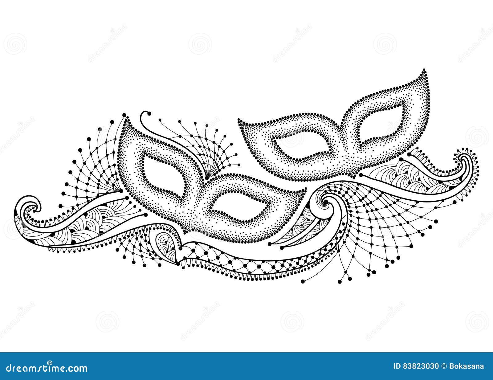 vectortekening met twee gestippeld carnaval masker en