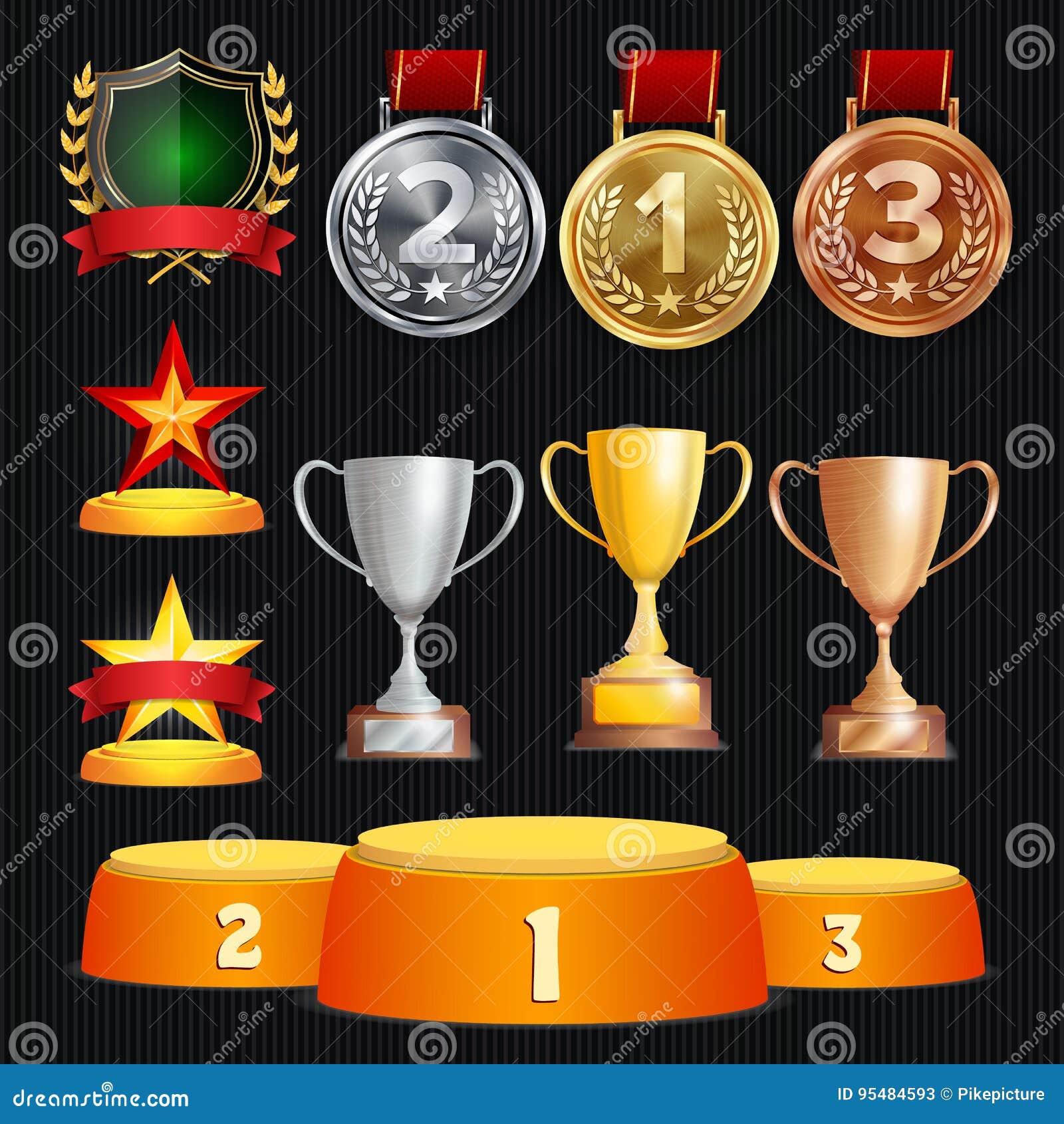 Vectortoekenning en Trofeeëninzameling Gouden Kentekens en Etiketten Kampioenschapsontwerp eerste, tweede, 3de Plaats gouden