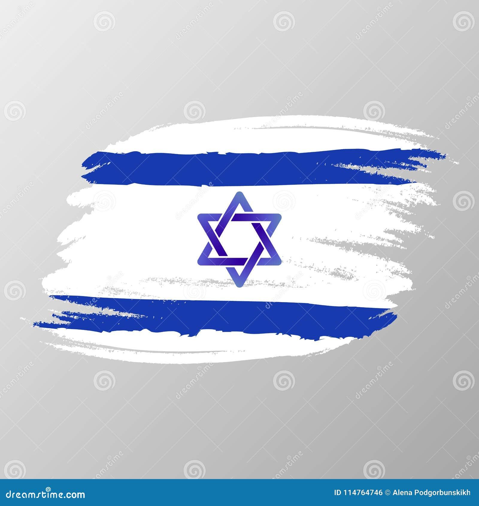 Joodse Verjaardag.Vectorvlag Van De Blauwe Jodenster Van Jeruzalem