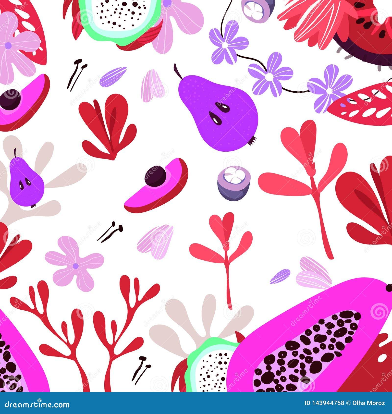 Vectorvruchten en kruiden Vruchten van illustratie de vlakke eco