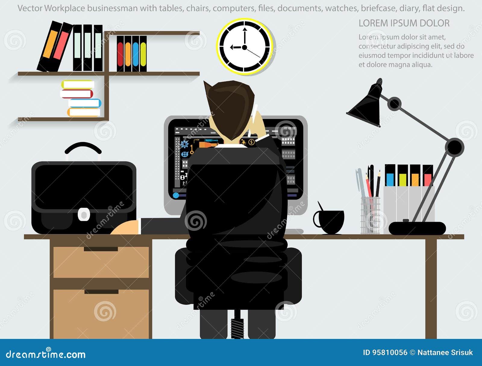 Vectorwerkplaats voor Bedrijfsaktentas, lijsten, stoelen, computers, horloges, pennen, potloden, dossiers, documenten, lampen, ko