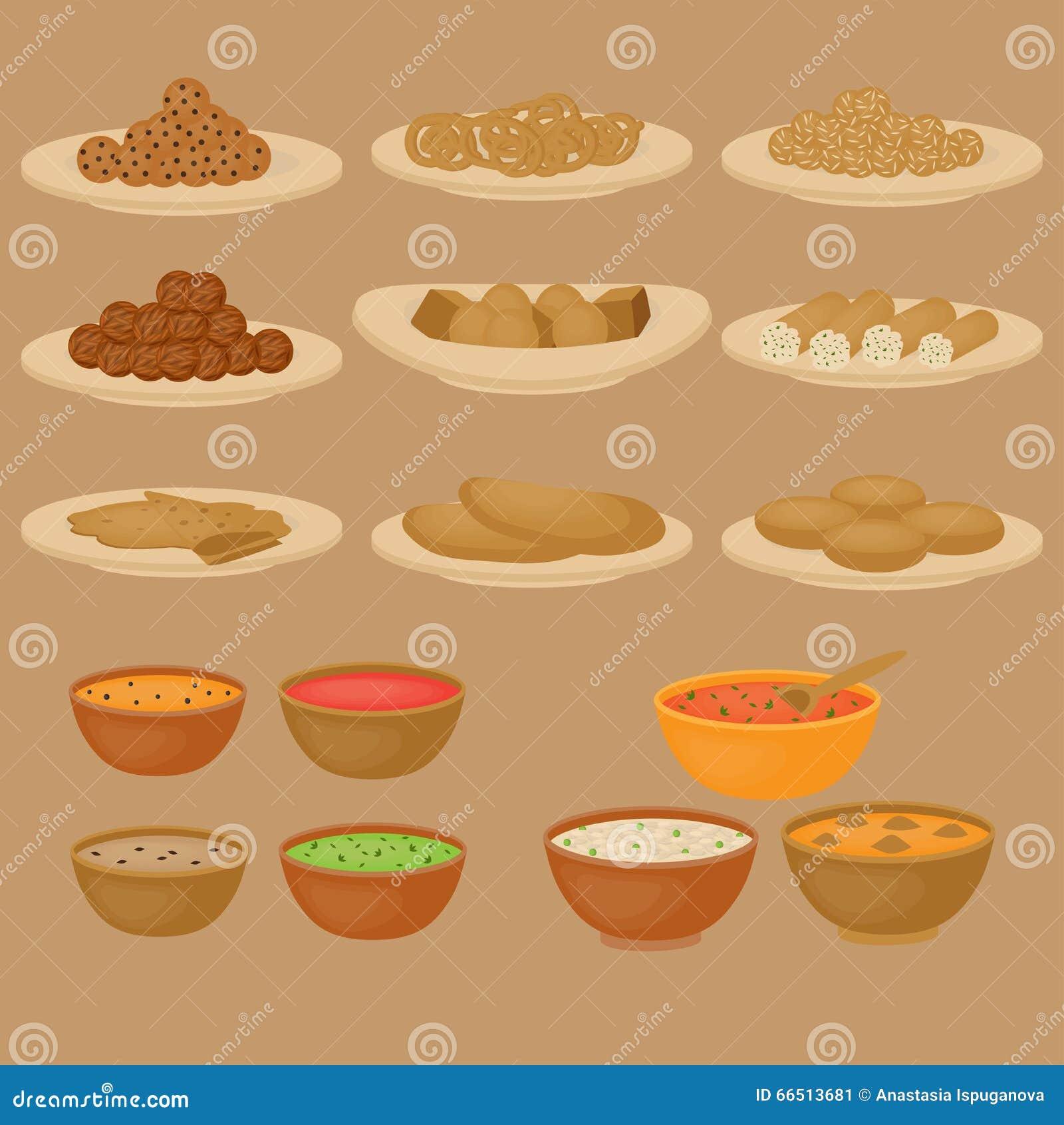 Vedic Indische Küche, Satz Vegetarisches Gesundes Lebensmittel Stock ...