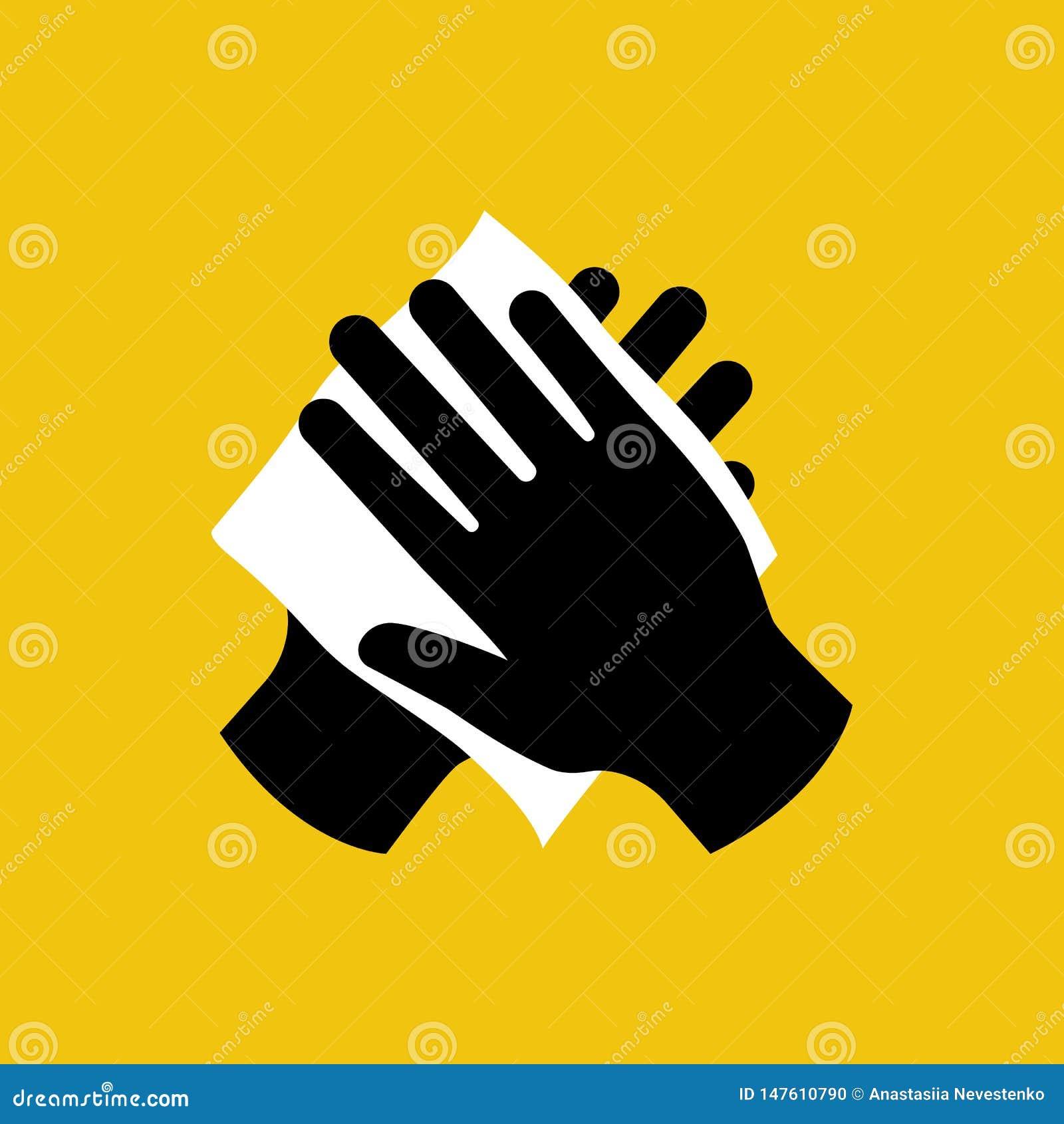 Veeg uw hand met vochtig doek zwart pictogram af