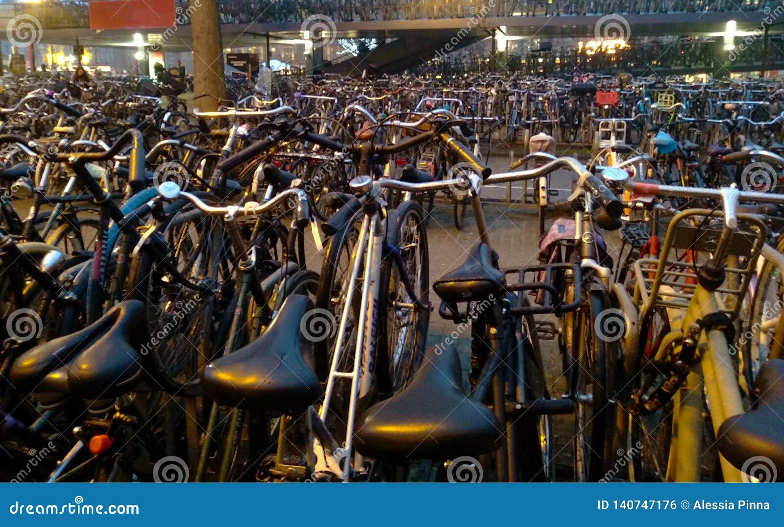 Veel fietsen in chaos in Holland, in Amsterdam samen worden geparkeerd dat