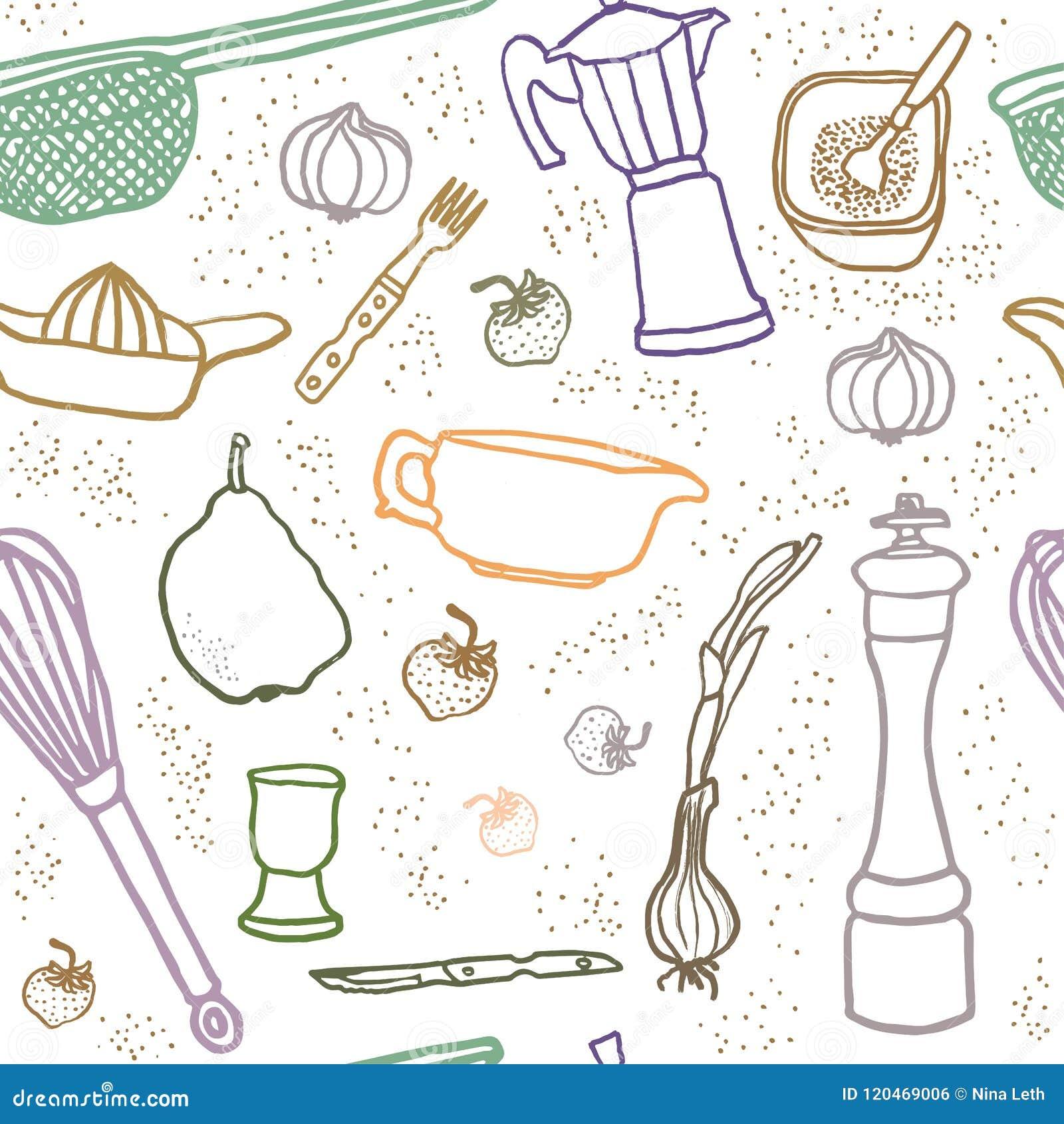 Veel het naadloze patroon van het keukenmateriaal