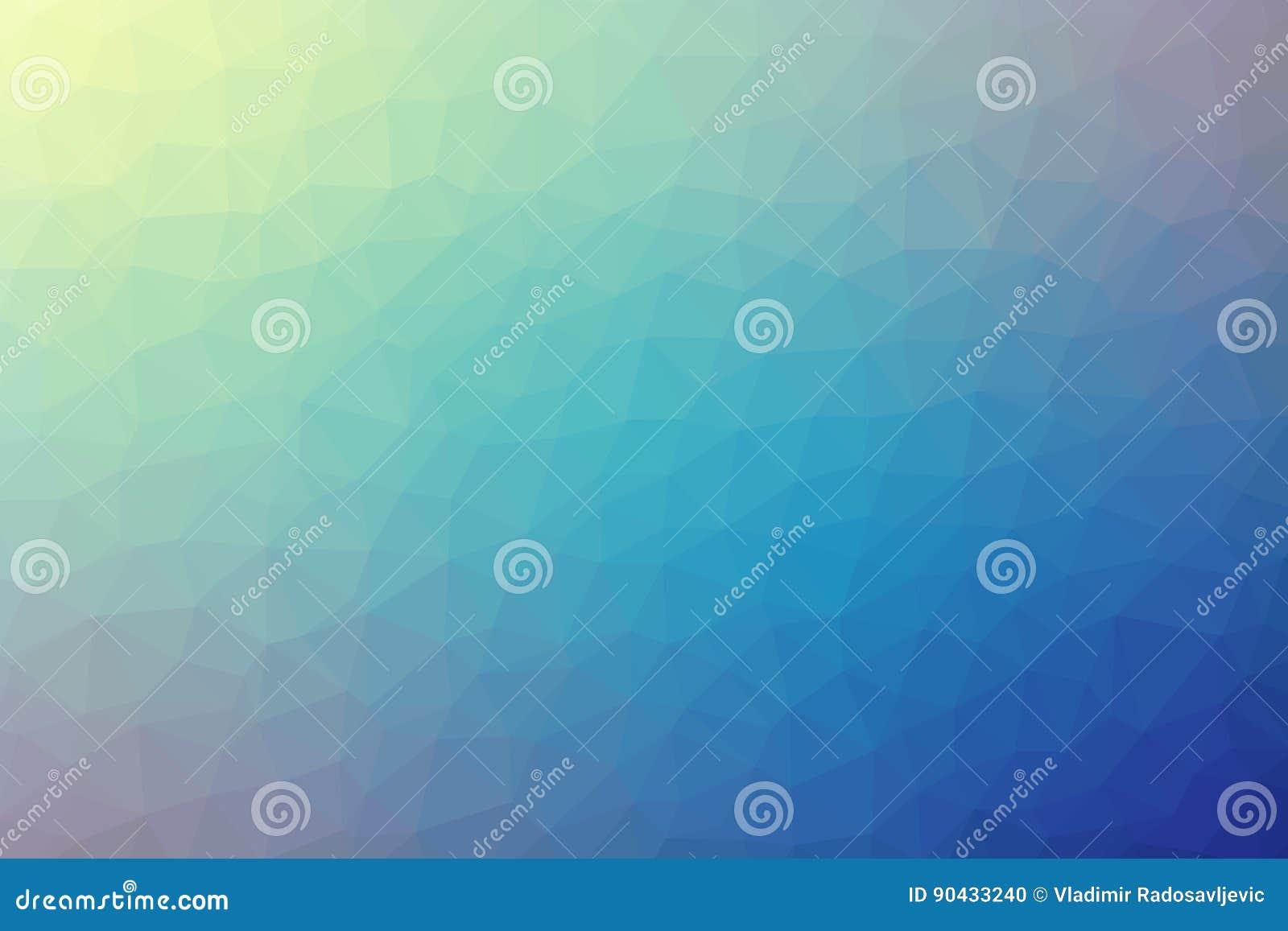 Veelhoekige abstracte geometrische blauwe en gele driehoekige lage polygradiënt vectorillustratie als achtergrond