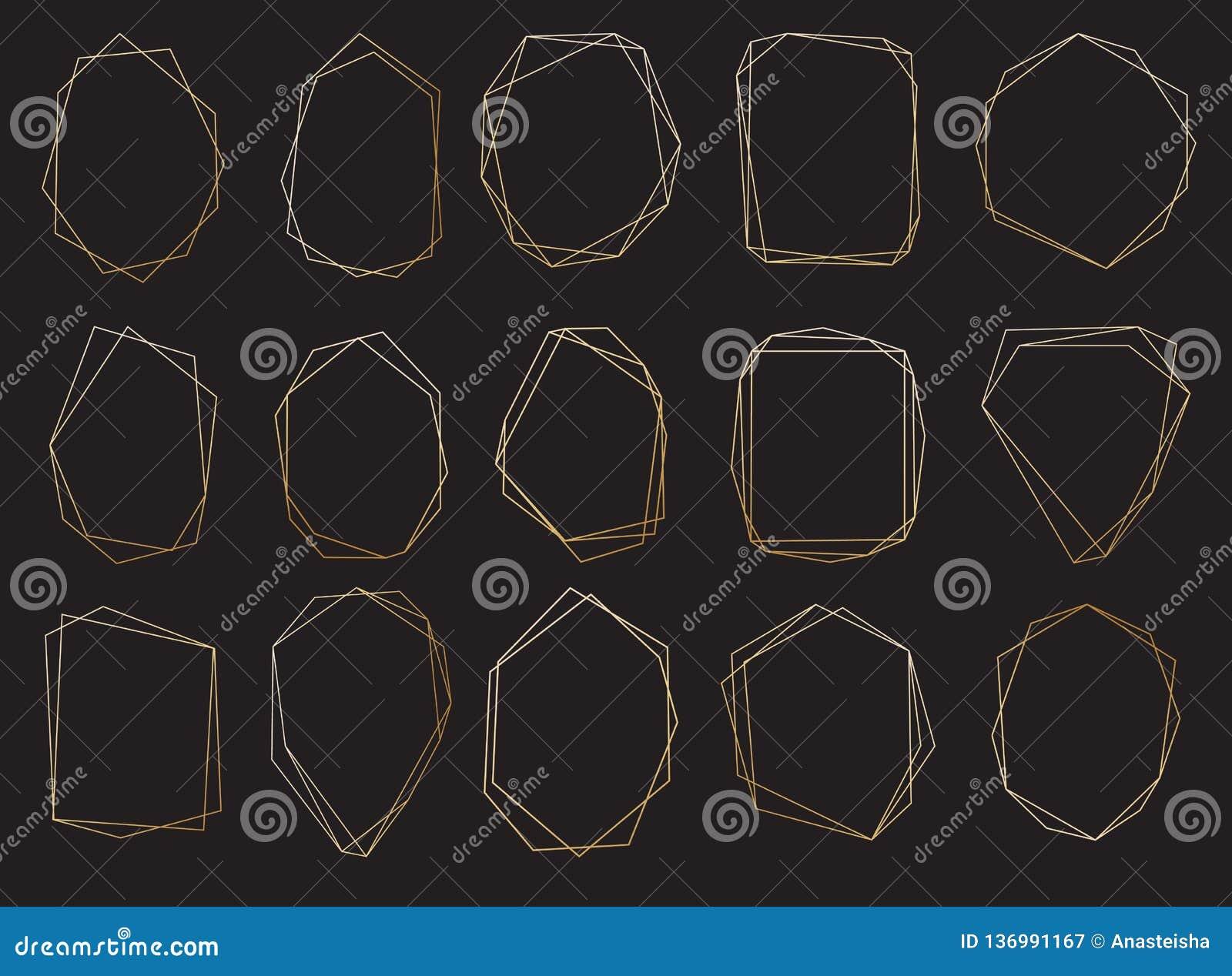 Veelhoekige geplaatste kaders Gouden driehoeken, geometrische vormen