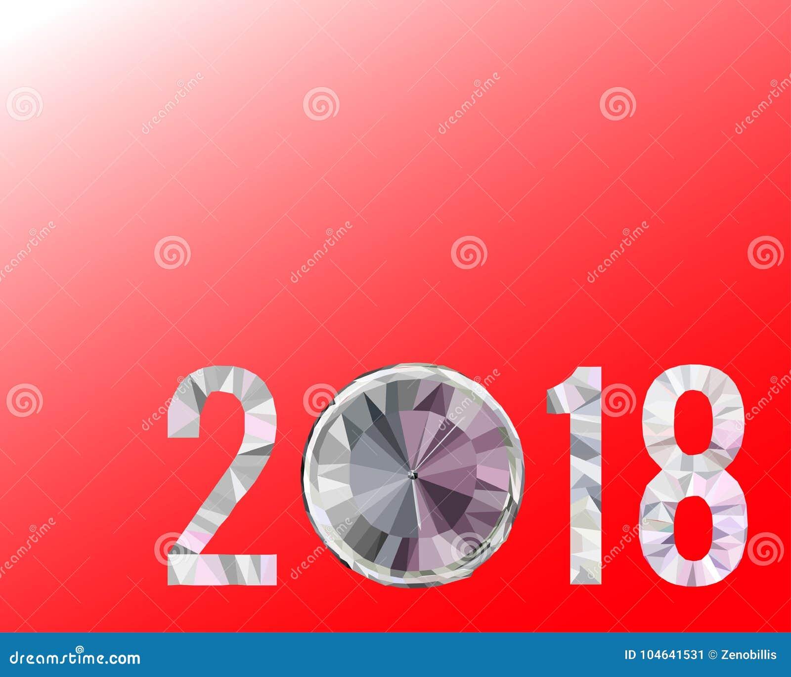 Download Veelhoekige Nummer 2018 Op Rode Achtergrond Kerstmis, Gelukkige Nieuwjaarillustratie Stock Illustratie - Illustratie bestaande uit dekking, feestelijk: 104641531