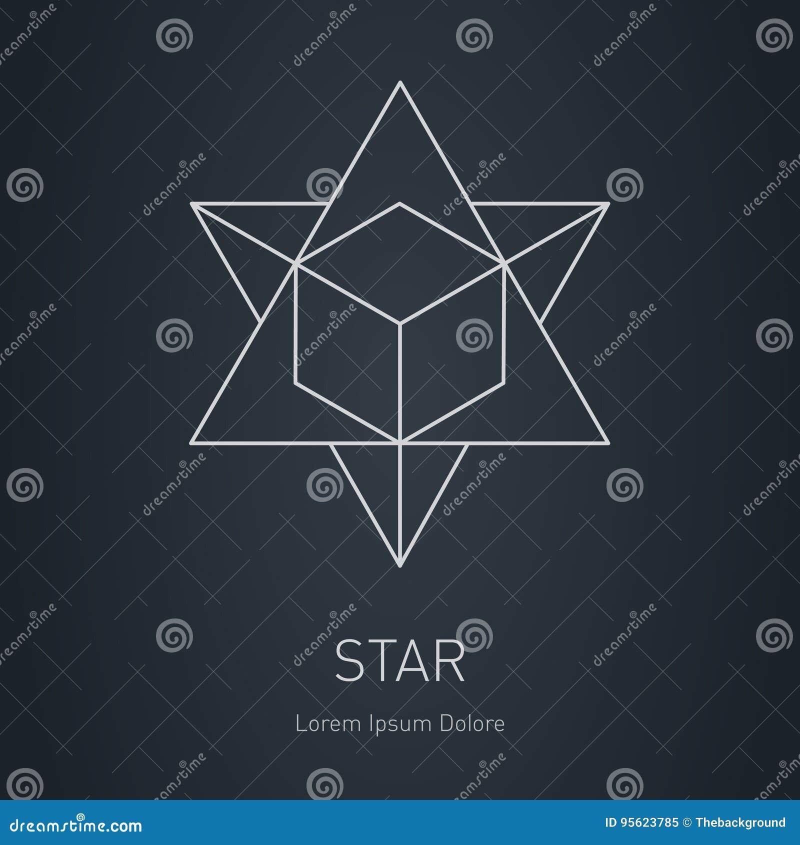 Veelhoekige Ster met binnen kubus, Modern modieus embleem Ontwerp ele