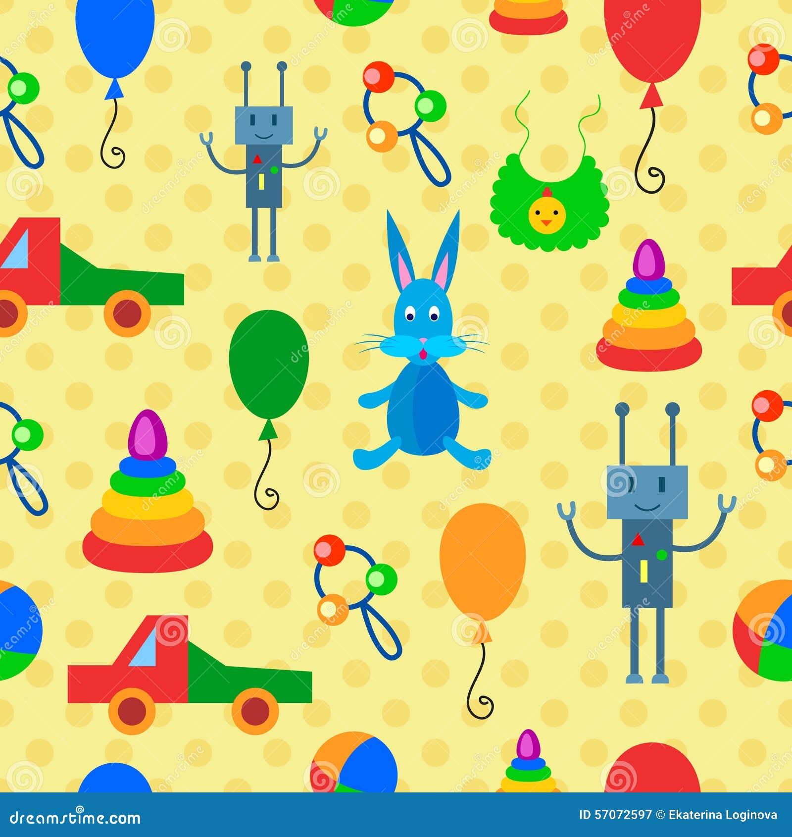 Veelkleurig naadloos patroon met speelgoed
