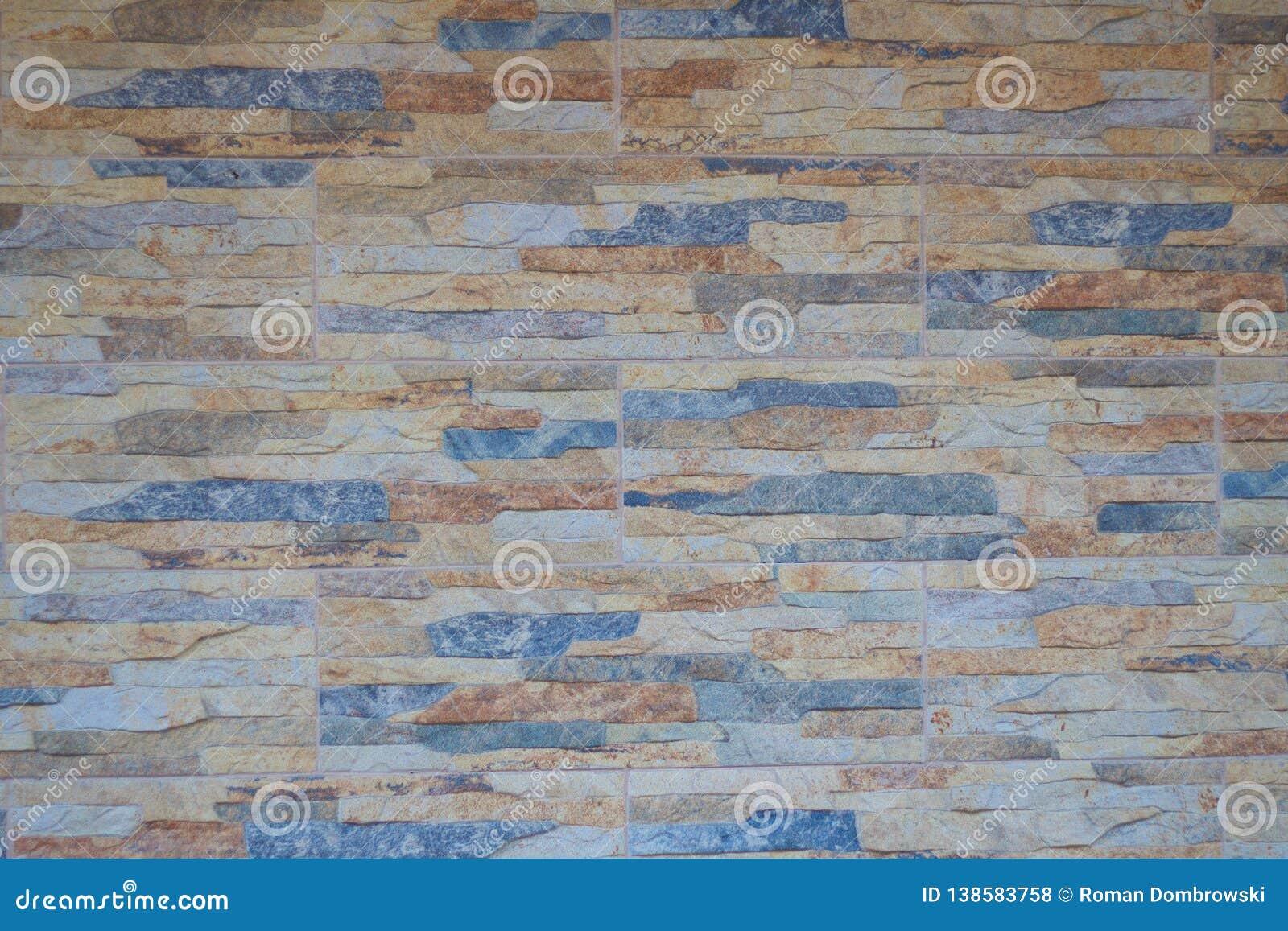 Veelkleurig van de Steenmuur van keramische steen ontwerpt de mooie achtergrond van de kleurentextuur voor kunstbinnenland in hui