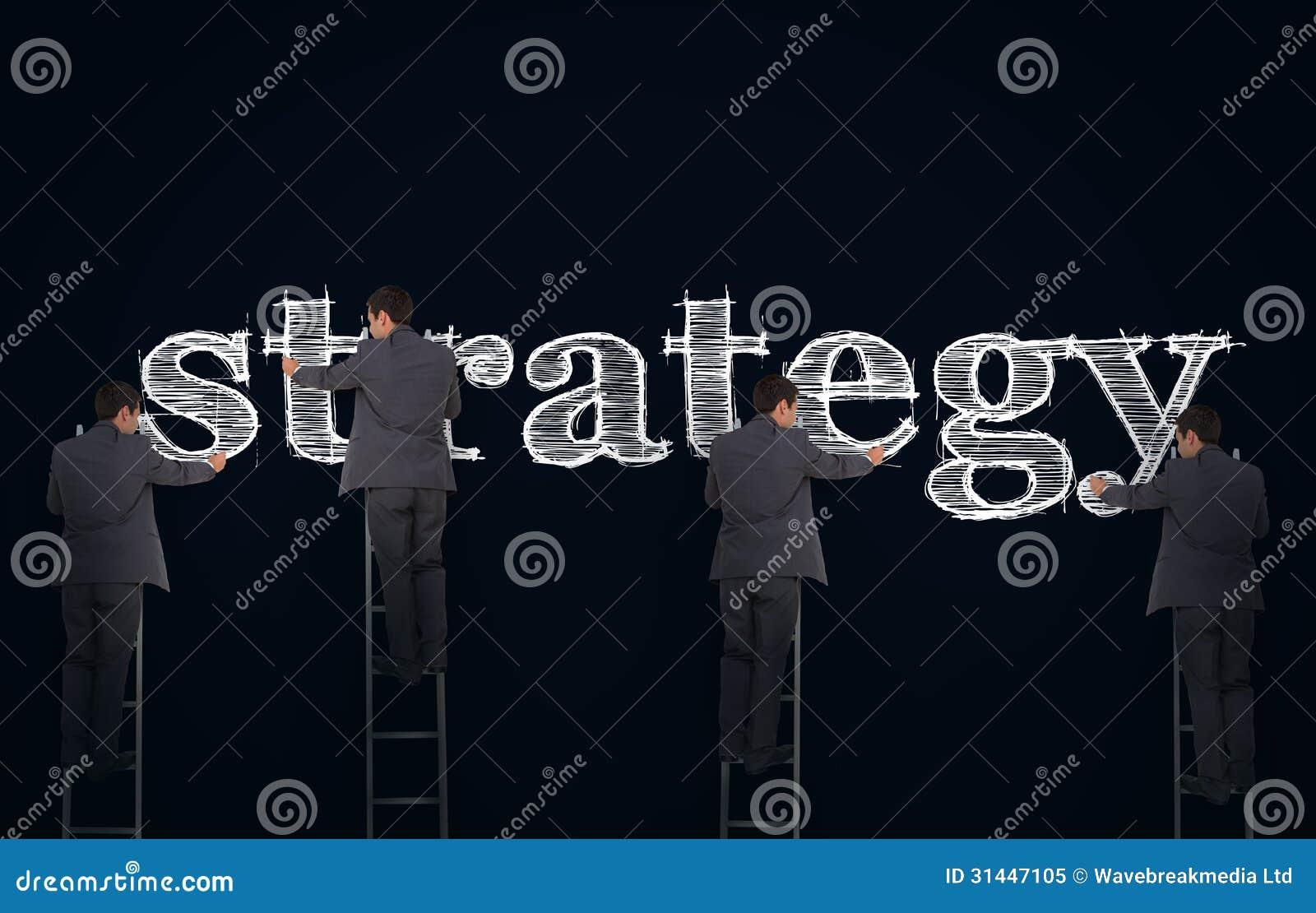 Veelvoudig beeld van een zakenman het schrijven strategie