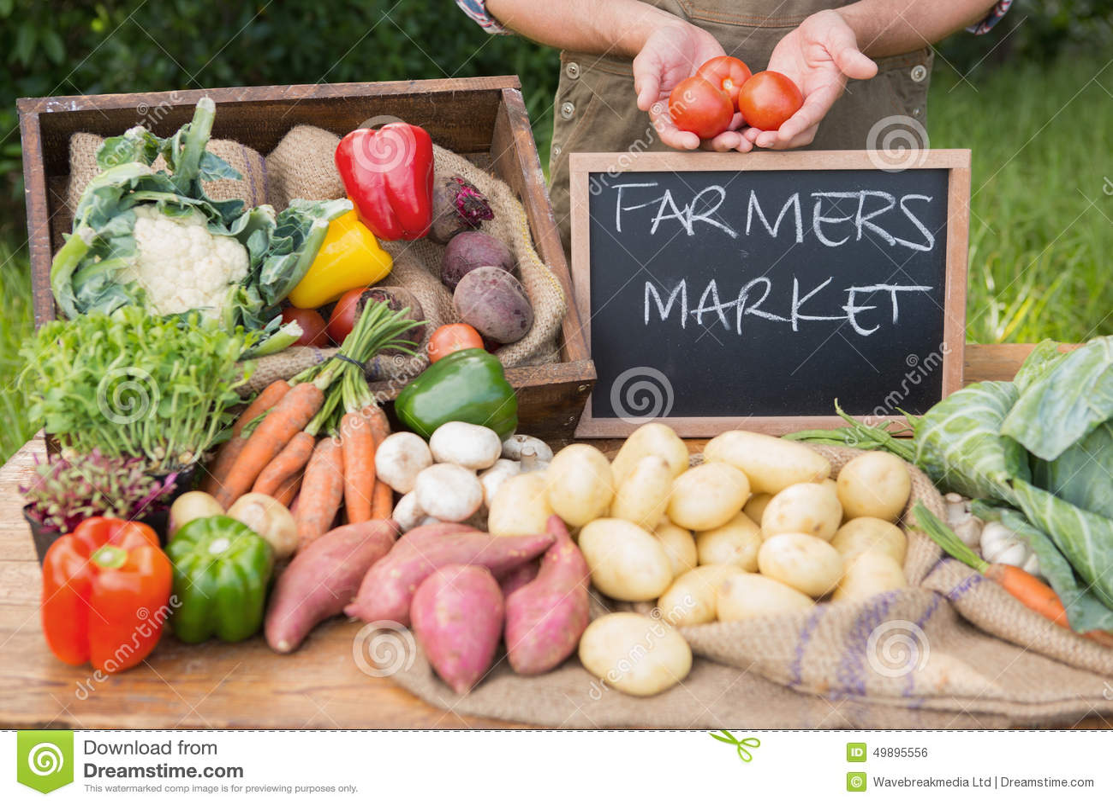 Veg organique des ventes des exploitants au marché