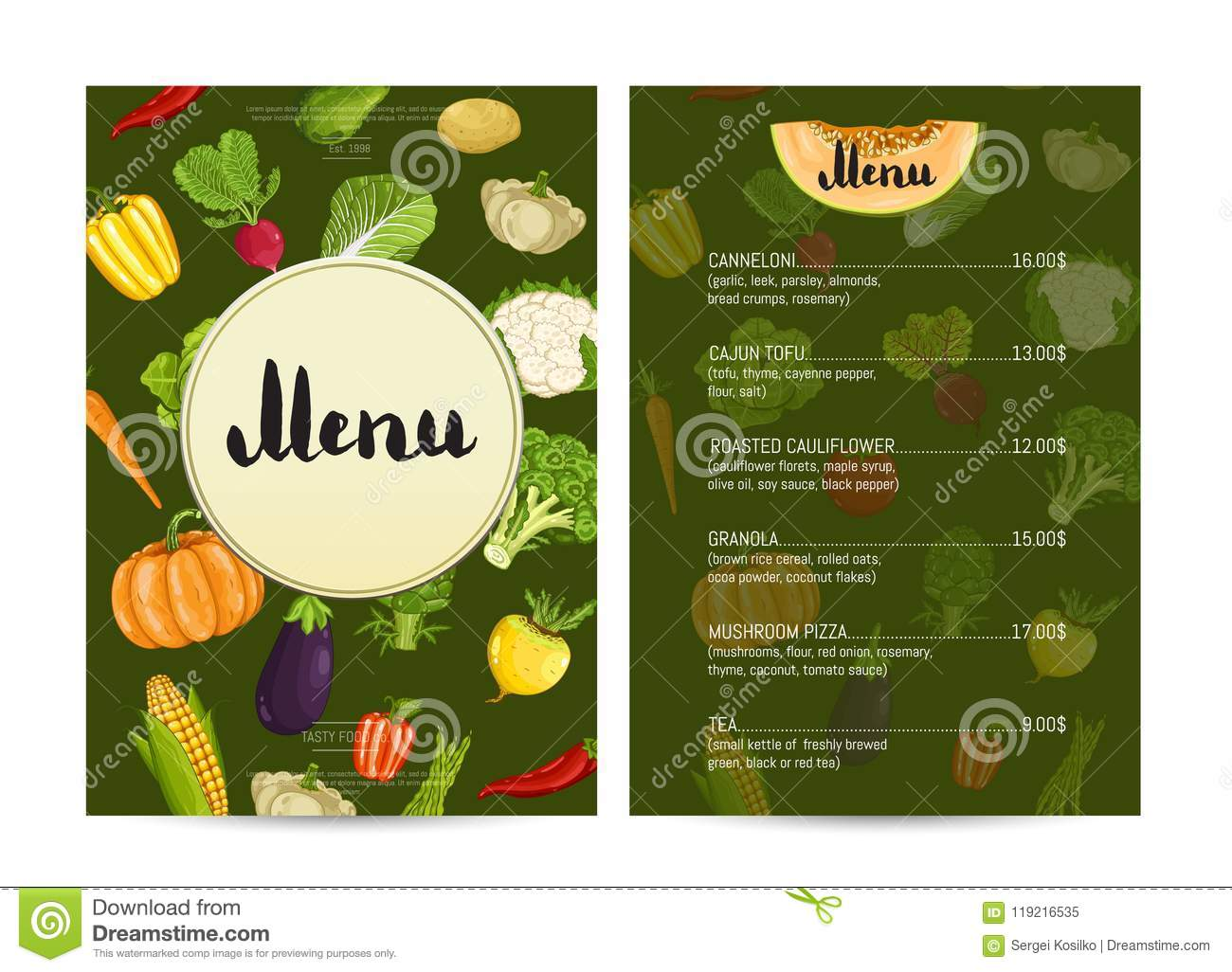 Vegan Cafe Food Menu Design Stock Illustration Illustration Of Delicacy Freshness 119216535