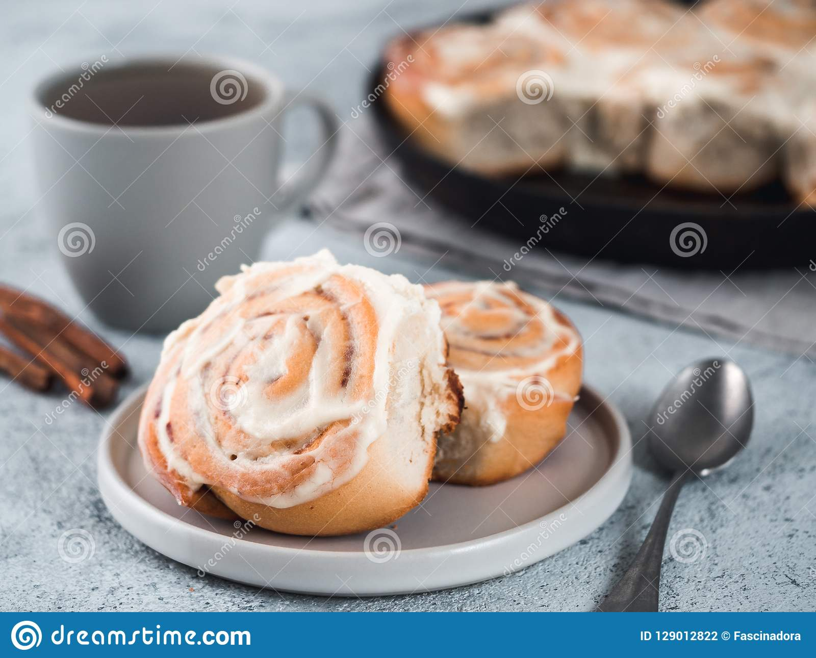 Vegan Cinnamon Rolls With Topping Top View Stock Photo Image Of Culinary Recipe 129012822