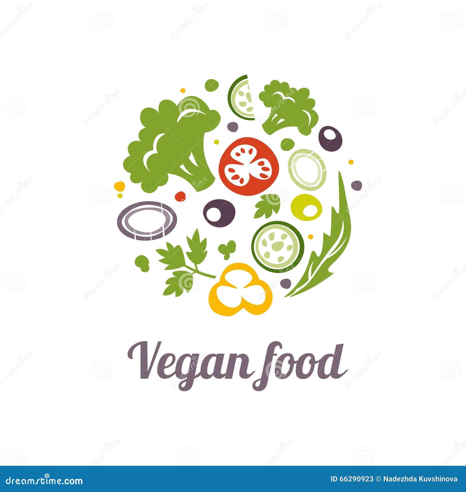Vegan Food Icon Logo Design Vector Template Stock Vector