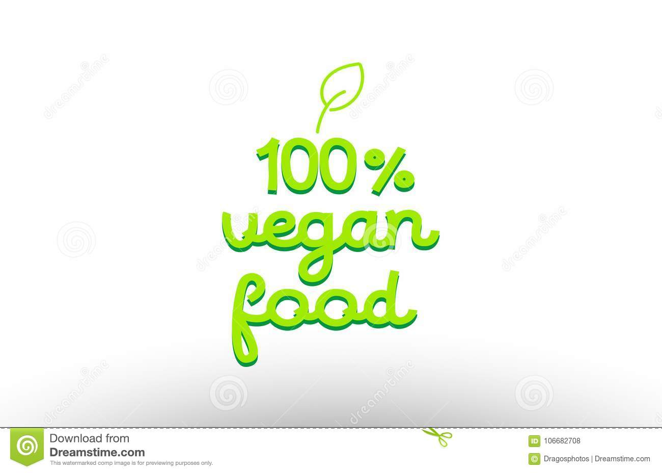 100  vegan food word concept with green leaf logo icon company d