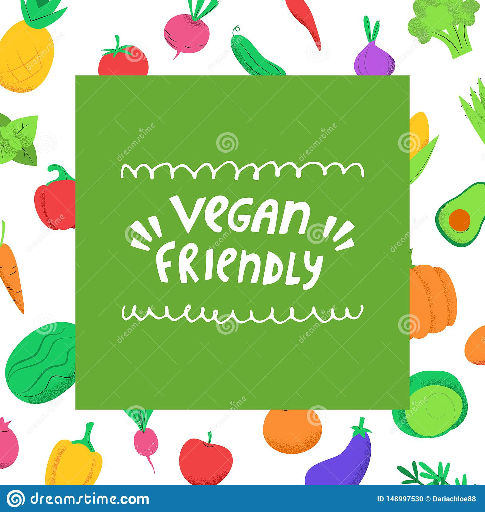 Vegan Friendly Banner With Vegetables Stock Vector Illustration Of Product Edible 148997530