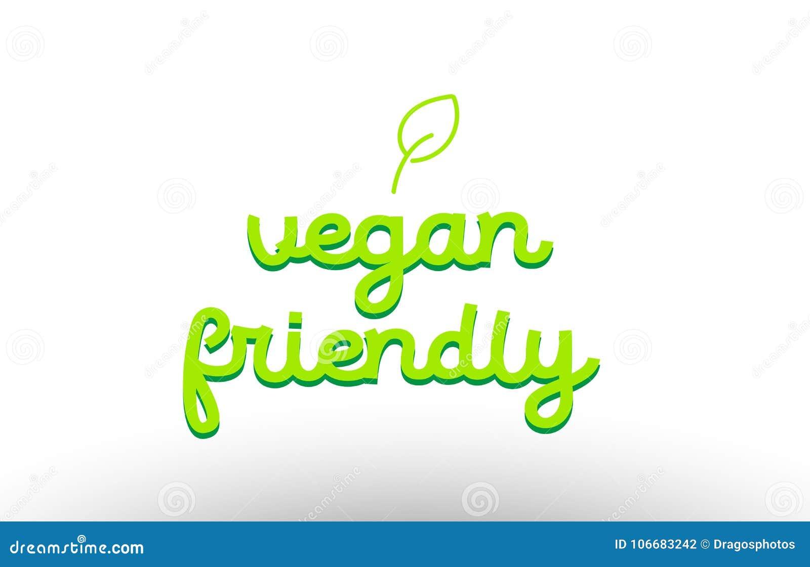Vegan Friendly Word Concept With Green Leaf Logo Icon Company De