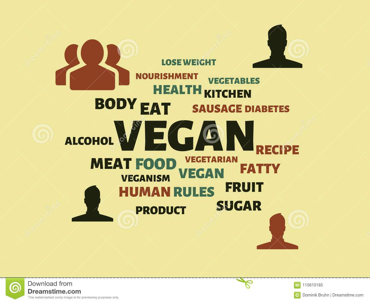 vegan image with words associated with the topic nutrition word