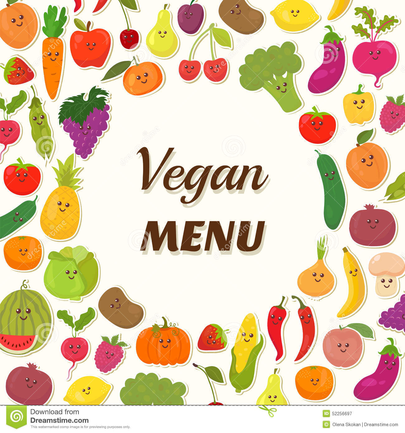 Vegan Menu Background Vegetarian Card Design Stock Vector