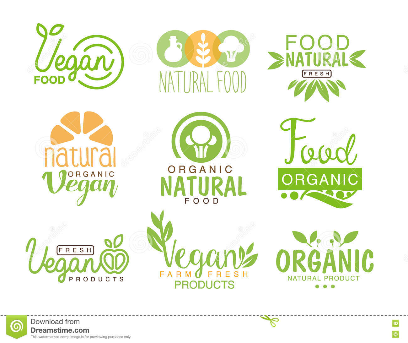 vegan natural food set of template cafe logo signs in green orange