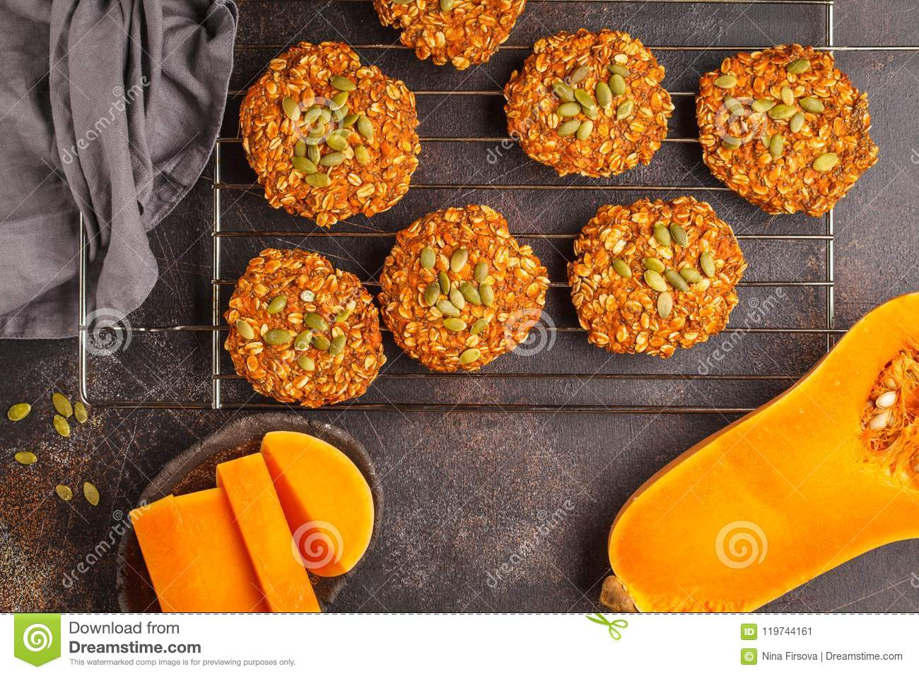 vegan oatmeal pumpkin cookies on dark background, halloween food