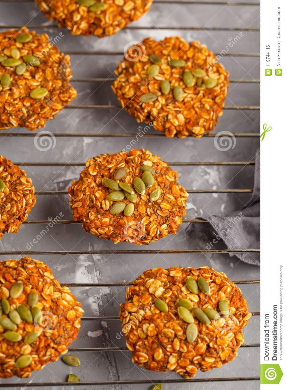 vegan oatmeal sweet potato cookies on gray background, halloween