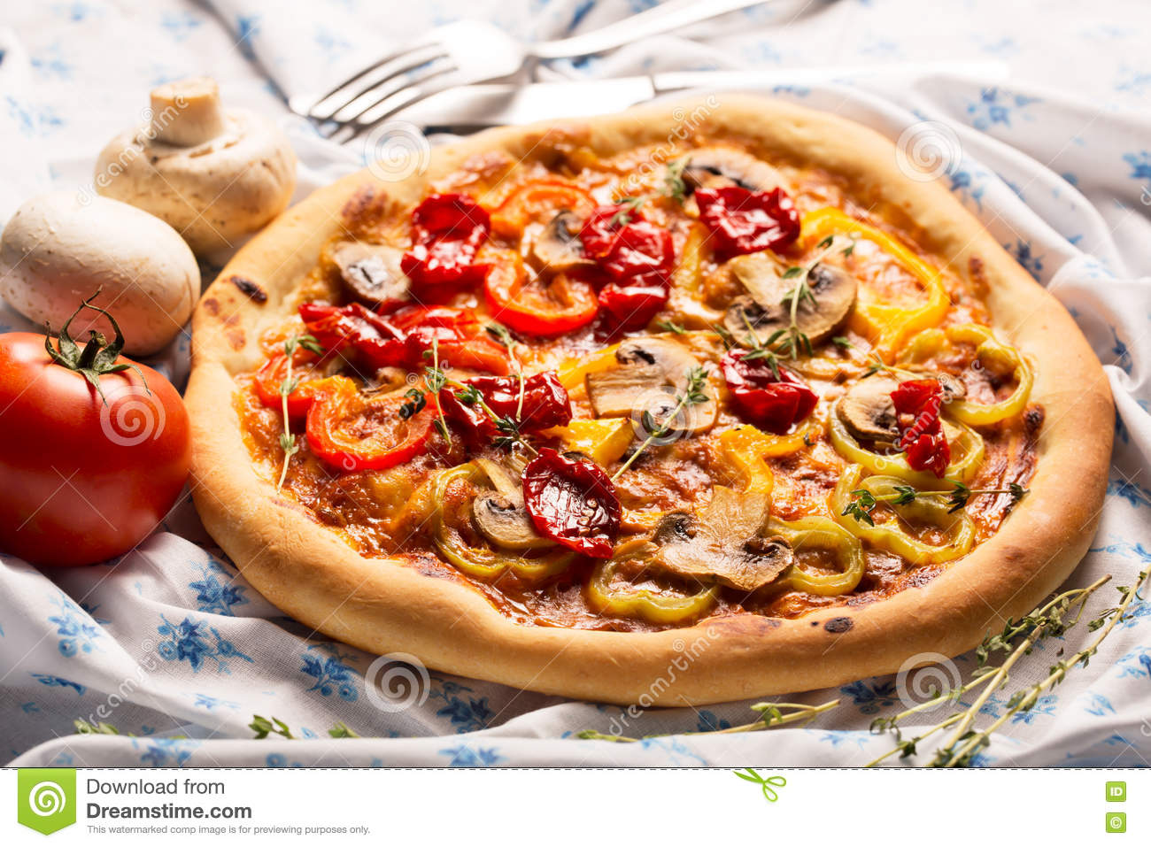 Vegan pizza with vegetables