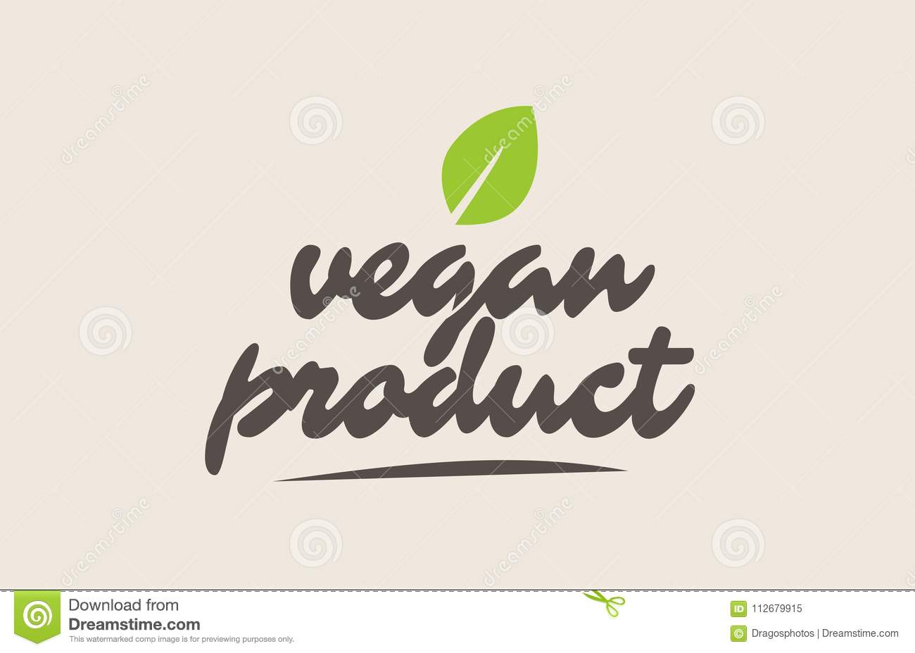 vegan product word or text with green leaf. Handwritten lettering