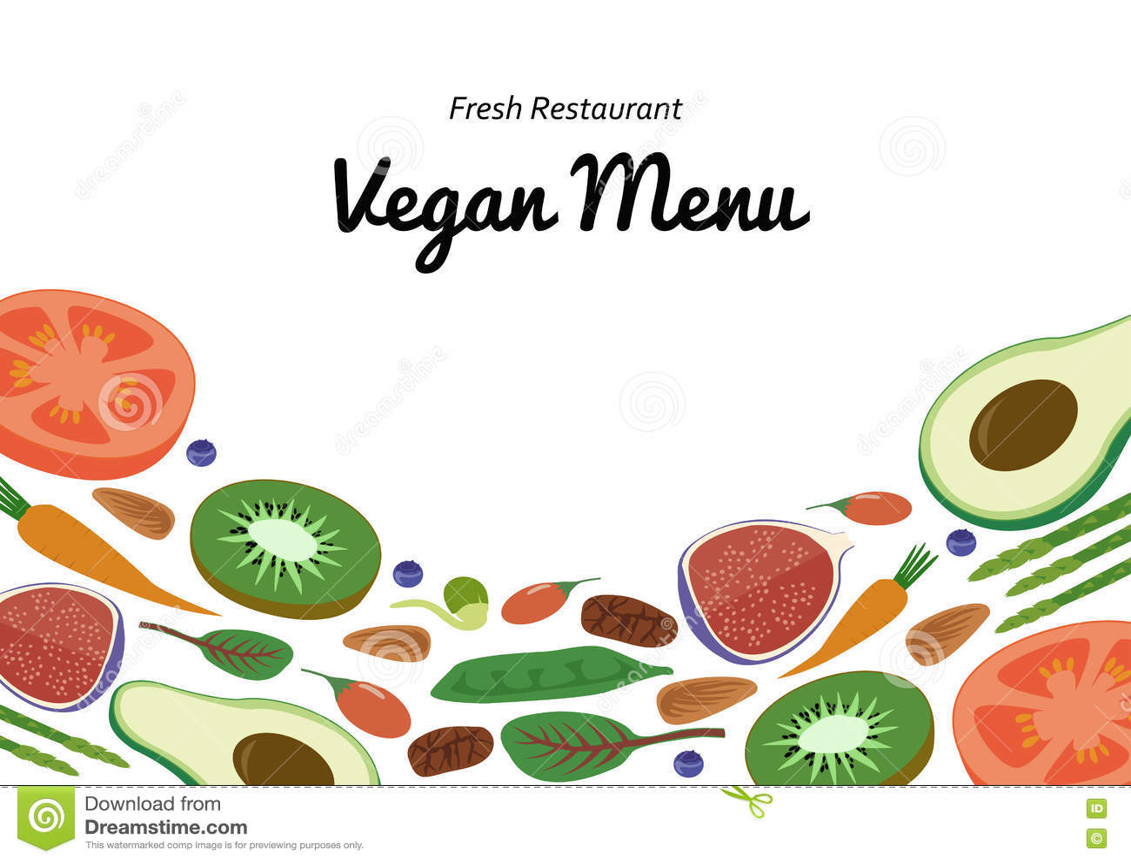 vegan restaurant cafe menu superfood vegetable fruit template