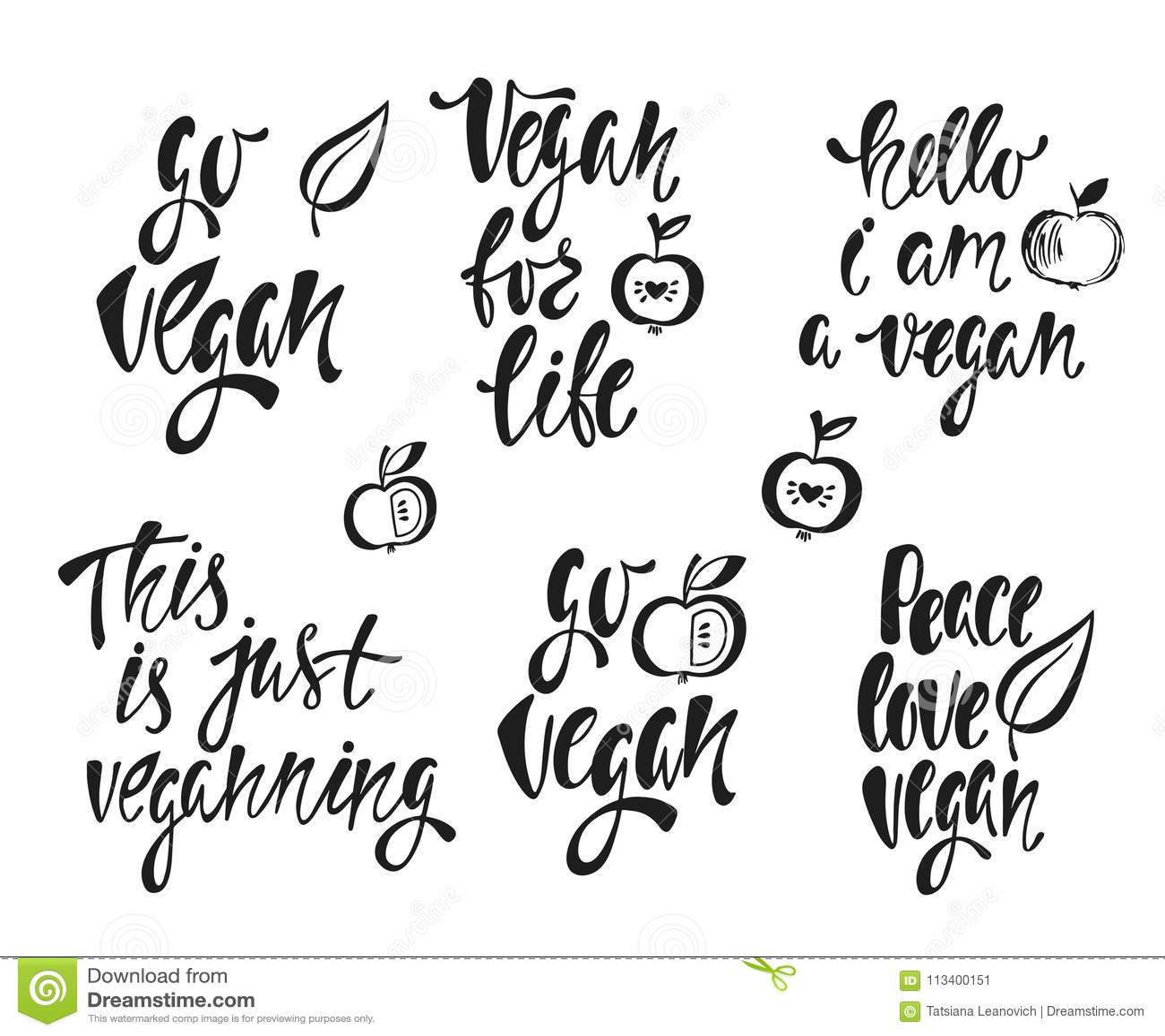 Vegan Vector Set Of Hand Drawn Lettering Phrases Food Design