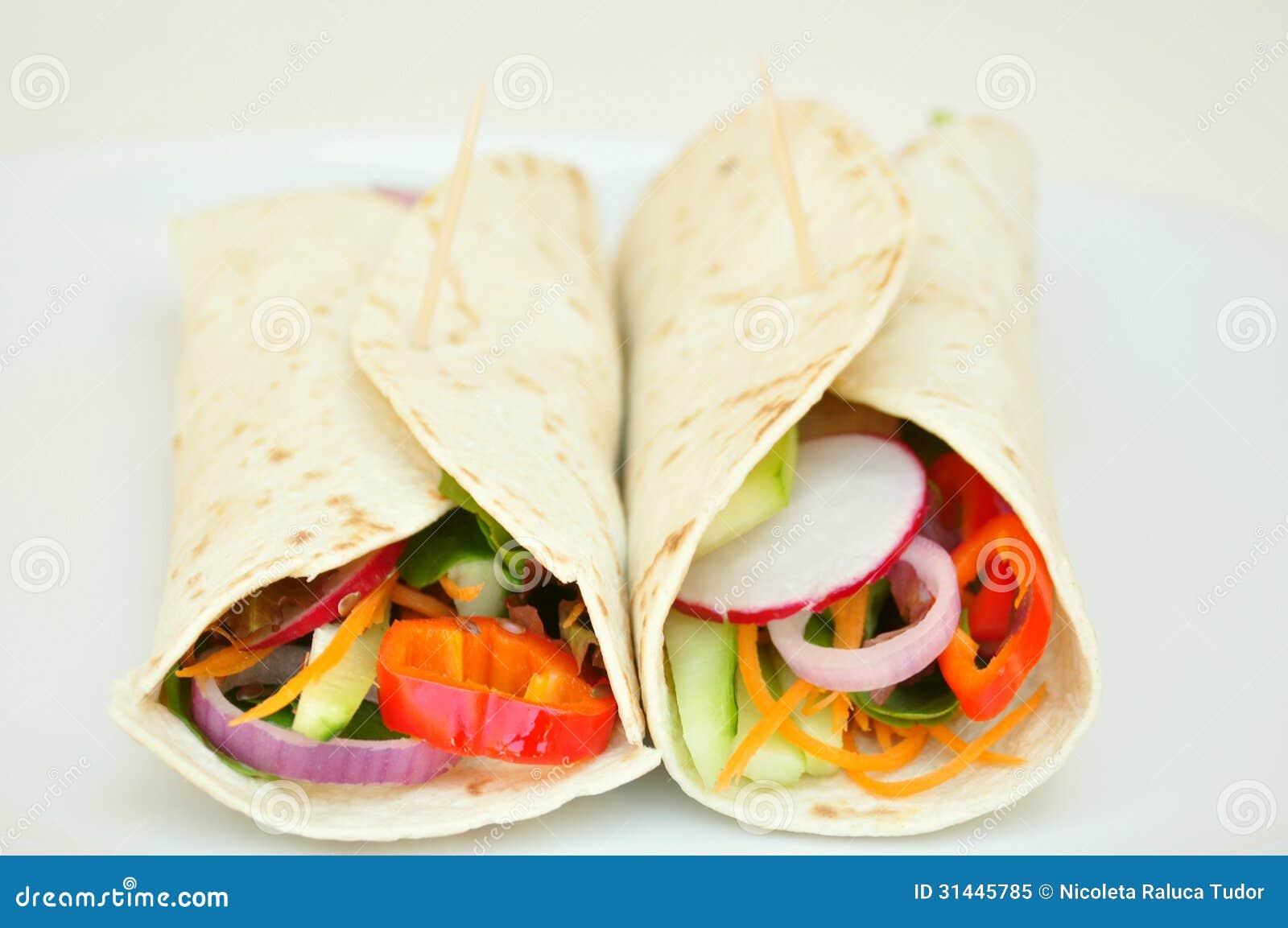 Vegan Wraps With Fresh, Raw Vegetables Stock Image - Image
