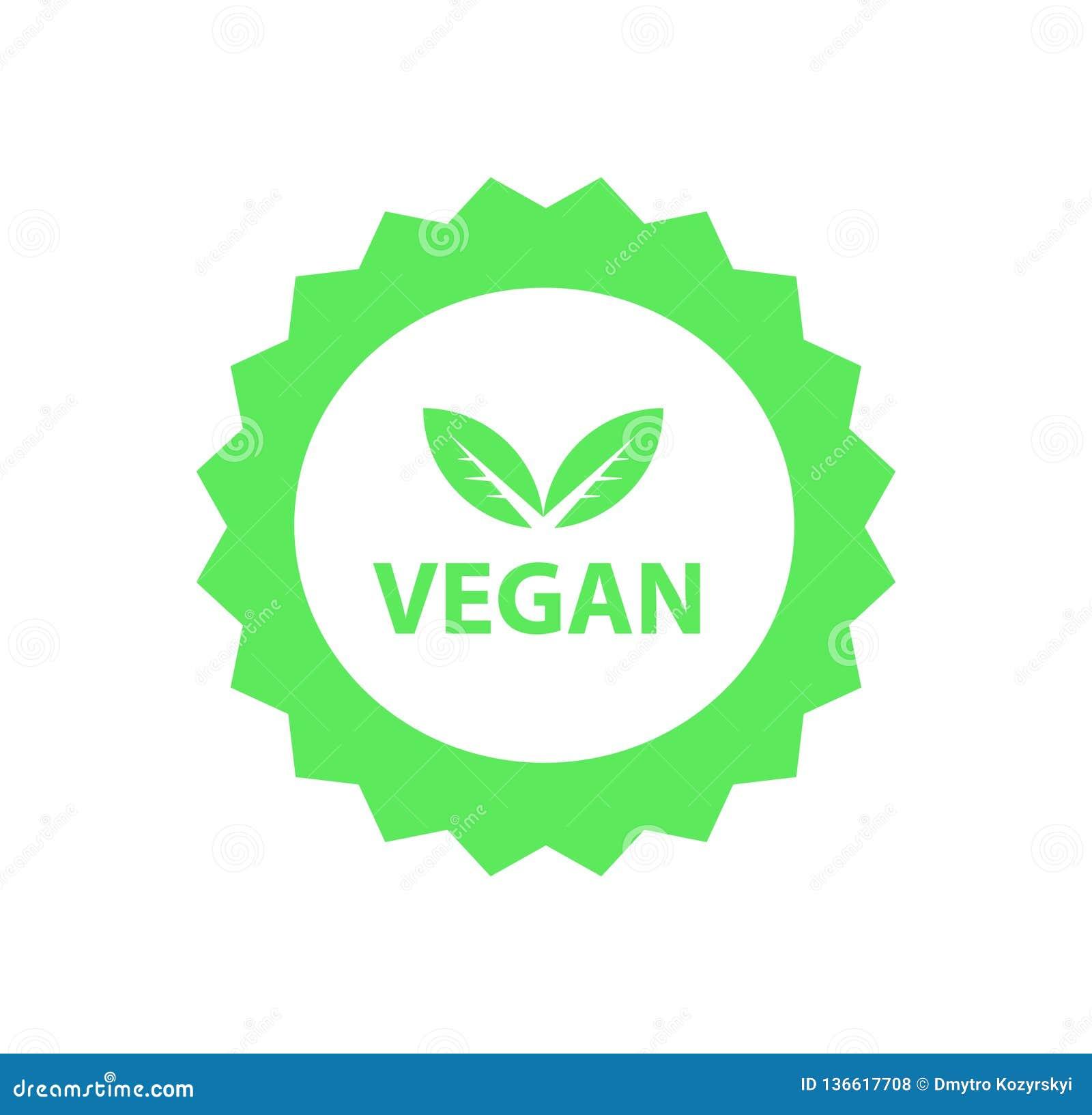Veganistembleem, organisch bioemblemen of teken Ruwe, gezonde die voedselkentekens, markeringen voor koffie worden geplaatst, res