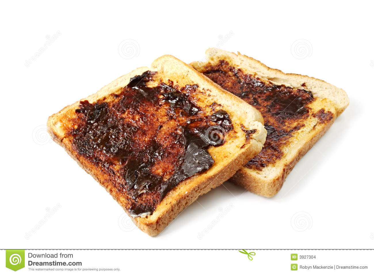Vegemite on toast, an Australian icon. Isolated on white.