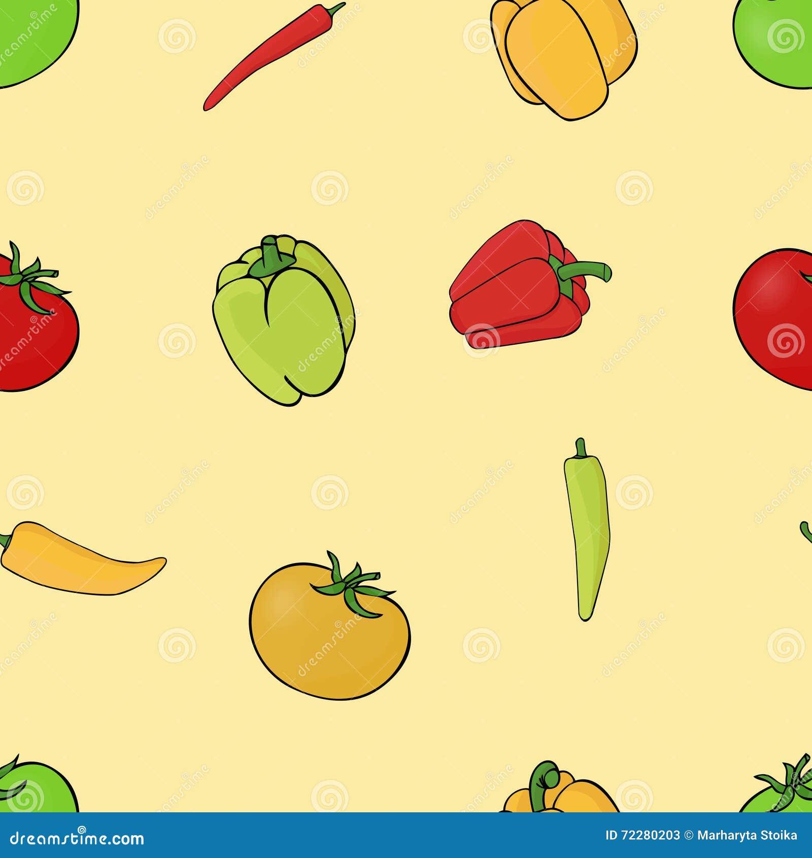 Download Vegetable безшовная предпосылка картины вектор Иллюстрация вектора - иллюстрации насчитывающей иллюстрация, перец: 72280203