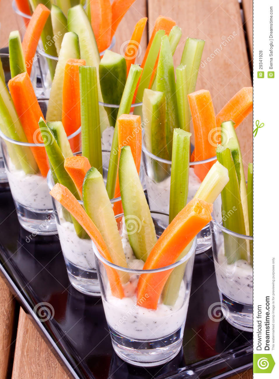 Vegetable Appetizers With Yogurt Stock Photo