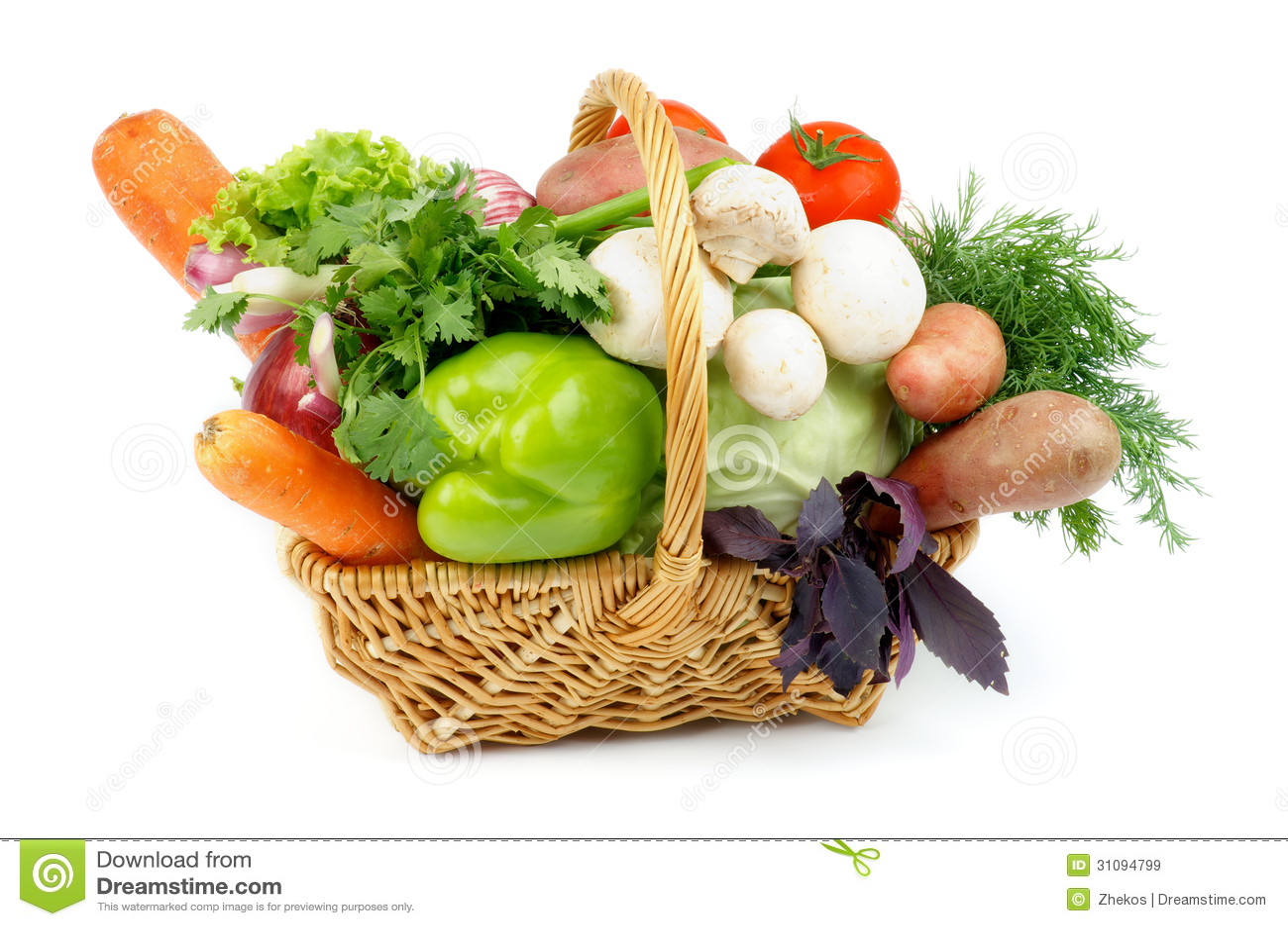 Basket of Various Vegetables with Green Bell Pepper, Carrots, Lettuce ...