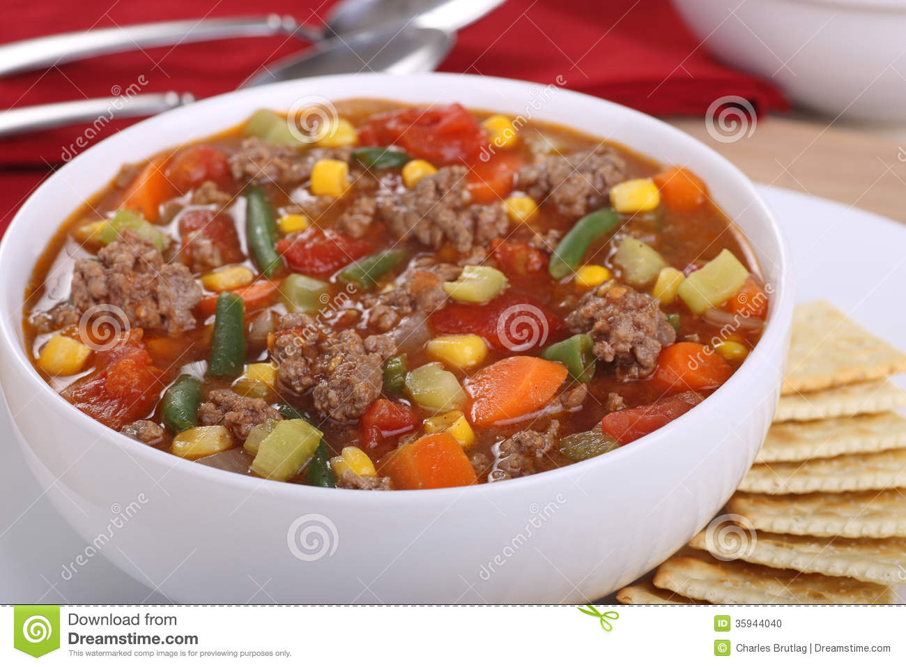 Vegetable Beef Soup Stock Photo Image 35944040