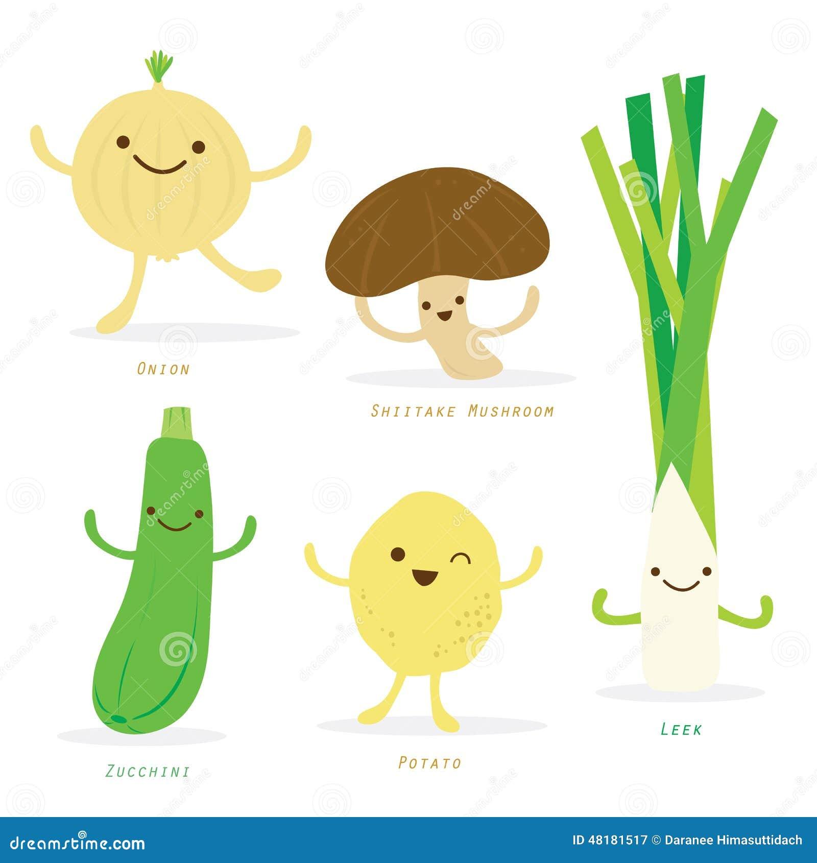 Line Drawing Zucchini : Vegetable cartoon cute set shiitake mushroom onion potato