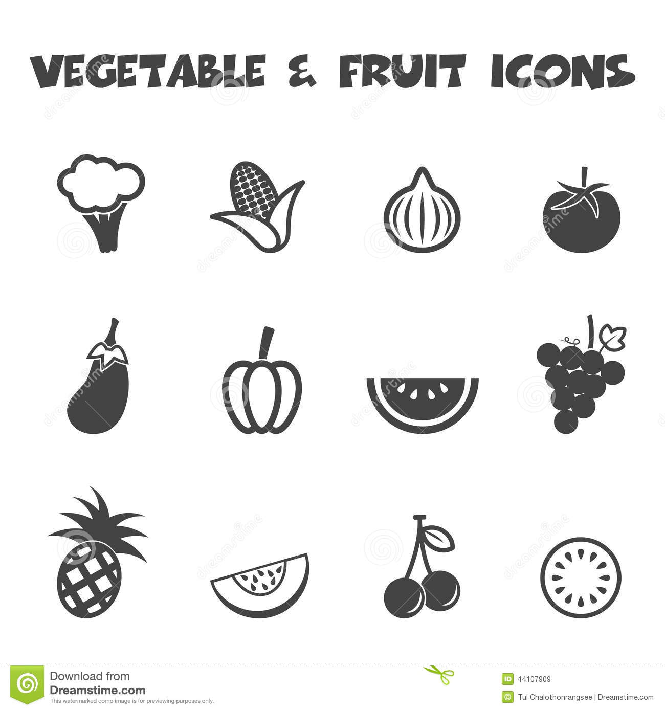 vegetable and fruit icons stock vector image 44107909
